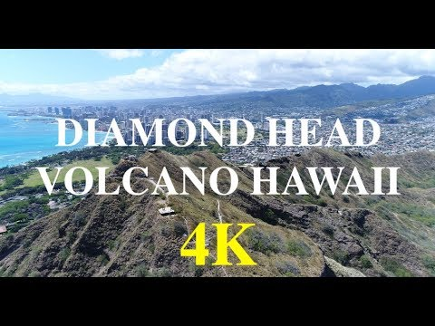 DIAMOND HEAD VOLCANO CRATER, OAHU HAWAII, 4K DRONE