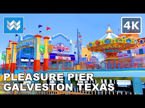 Walking tour of Historic Pleasure Pier in Galveston Island, Texas USA (South of Houston) 🎧【4K】