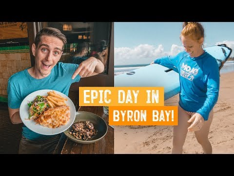 Trying Australia's MOST POPULAR PUB FOOD! + Learning to Surf 🏄♂️ | Wild Kiwi Tours | Byron Bay