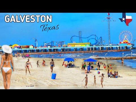 Walking in Galveston Beach in Galveston, Texas USA (South of Houston)   Beach Waves Sounds!