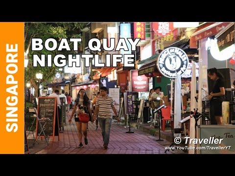 Boat Quay in Singapore - Restaurant and Bar Area of the City - Singapore Travel video