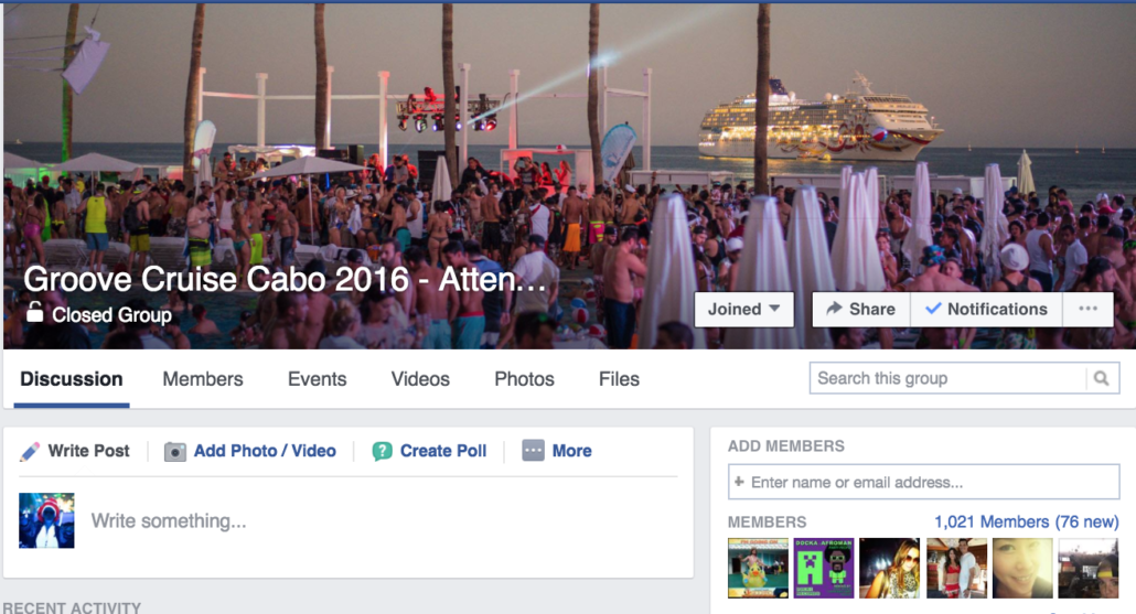 Don't even try to join unless you were apart of the Groove Cruise Cabo Fam