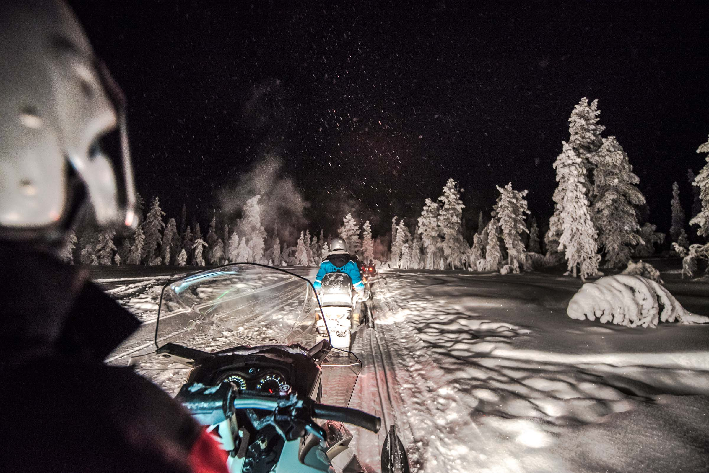Northern Lights Lapland Finland Snowmobiling