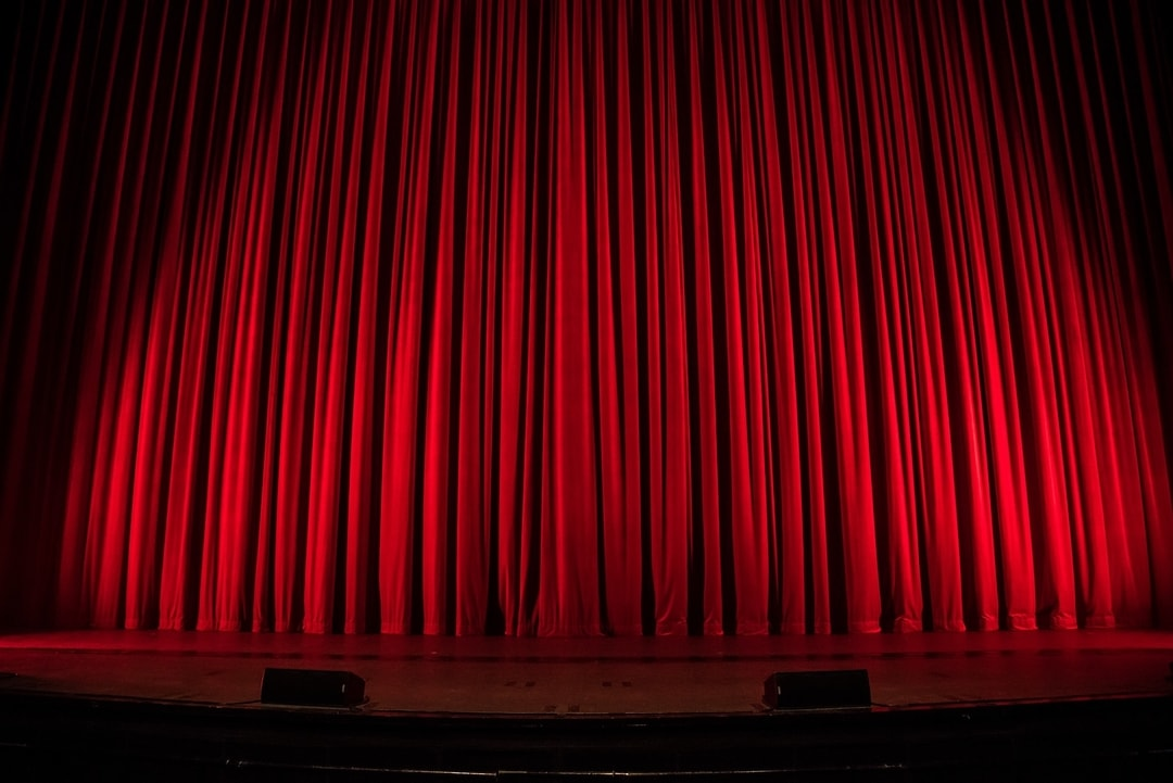 Red theatre curtains, drawn
