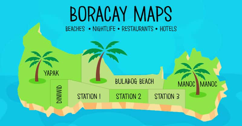 Boracay Map - Stations 1, 2, and 3