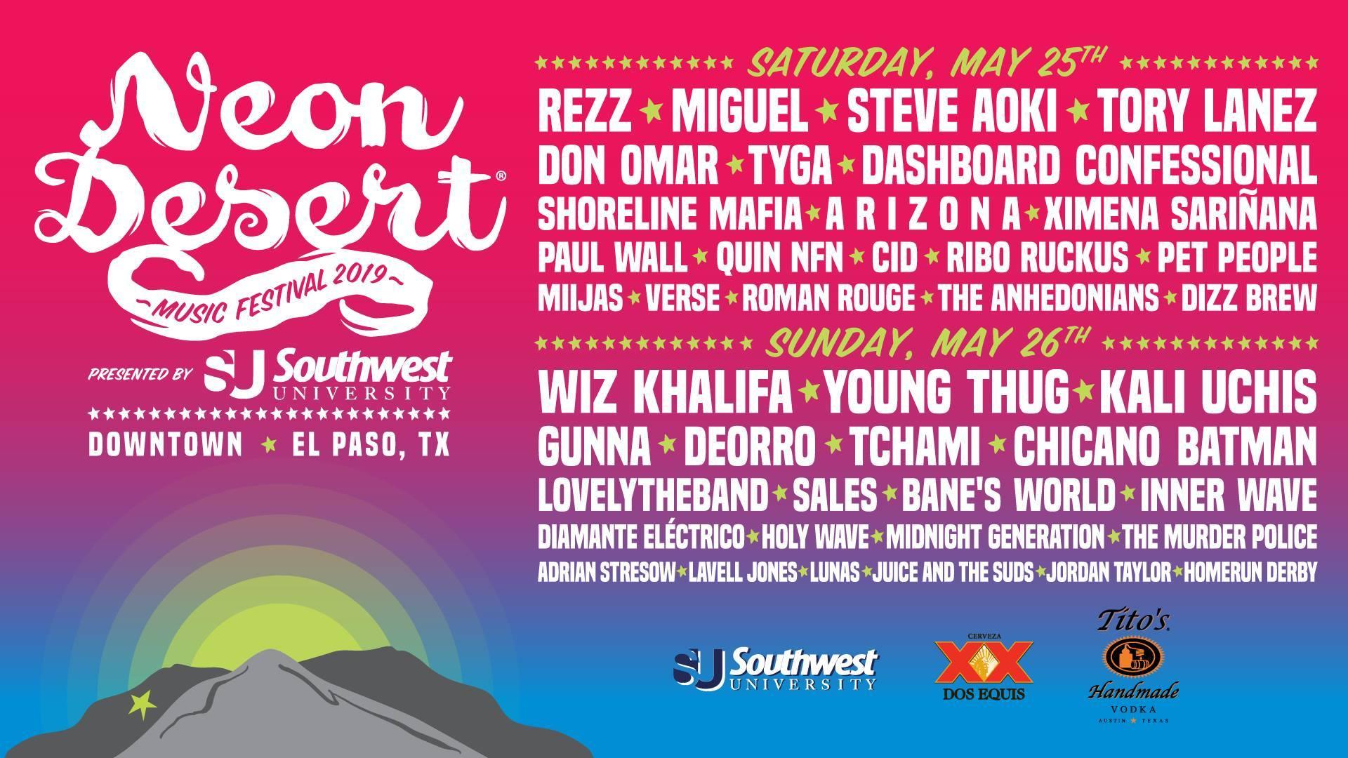 Neon Desert Music Festival - El Paso, Texas 2019 Lineup