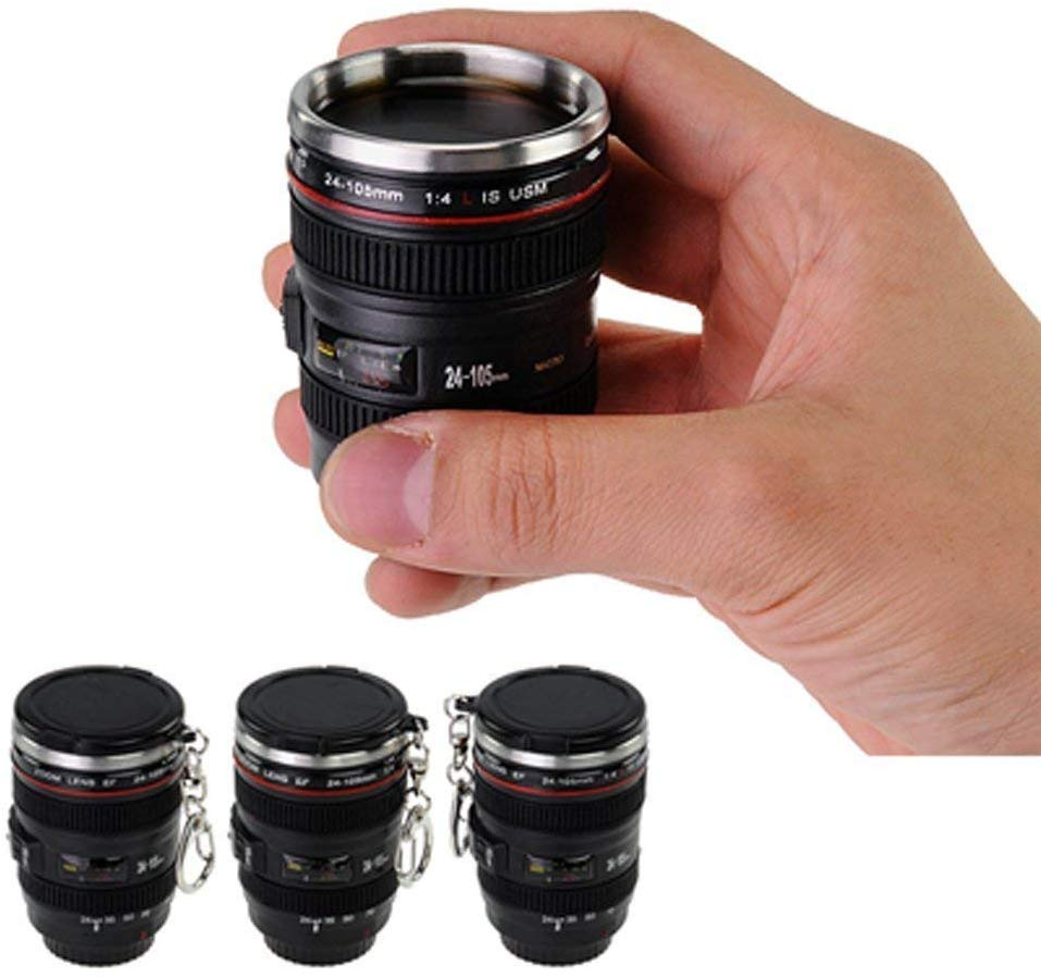 Stainless Steel Mini Camera Lens Travel Shot Glass with Keychain - Fun Gifts for Photographers