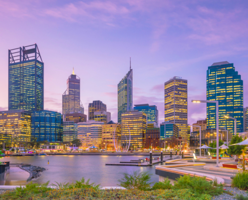 Downtown Perth skyline in Australia
