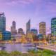 Downtown Perth skyline in Australia