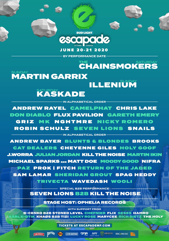 Escapade EDM Festival Canada 2020 Lineup