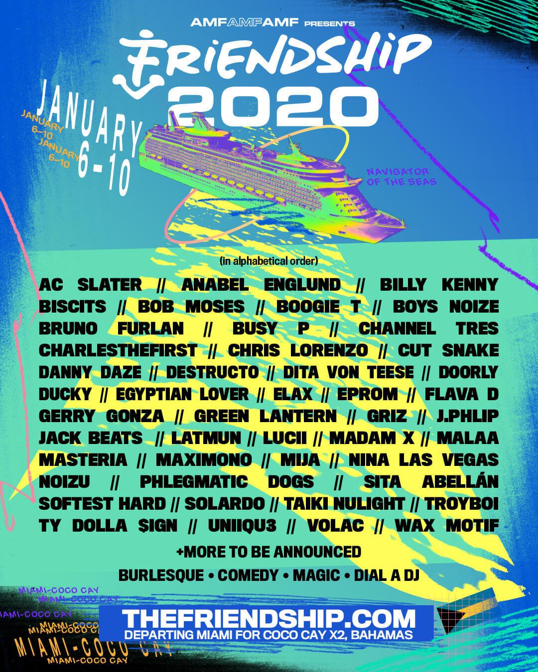 Friendship Line-Up 2020 - Best US Festivals