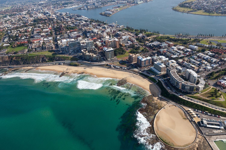 Newcastle Beach - aerial view Newcastle NSW Australia