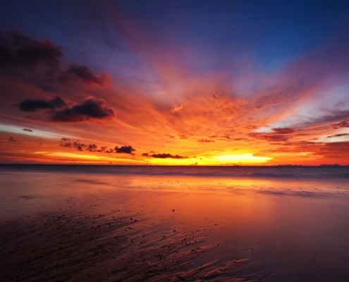 Colorful sunset in the tropical sea. Sunset Quotes