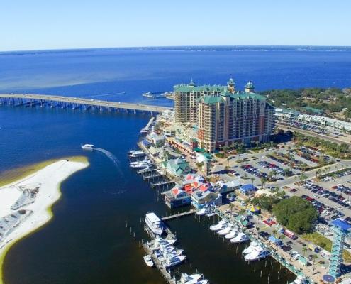 Airbnb Destin, Florida. Aerial view of beautiful city skyline