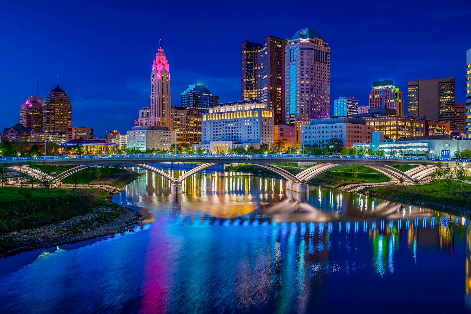 Columbus Ohio reflected in Scioto River at Sunset