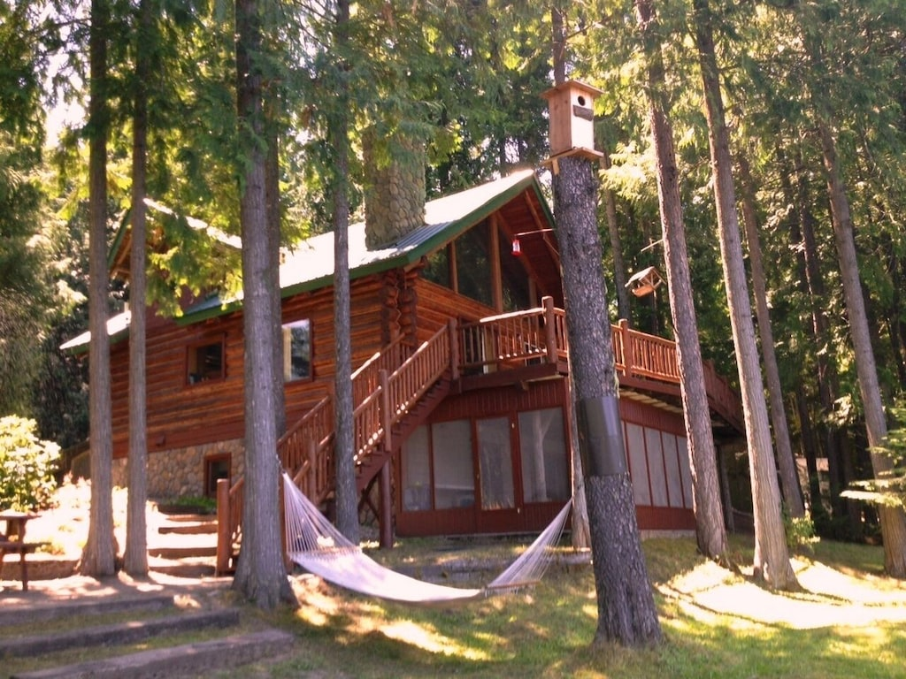 montana log cabin private beach glamping luxury