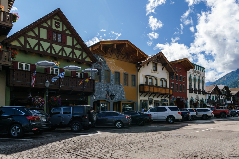 Leavenworth, USA - September 16, 2018: Downtown of small bavarian styled village in the Cascade Mountains