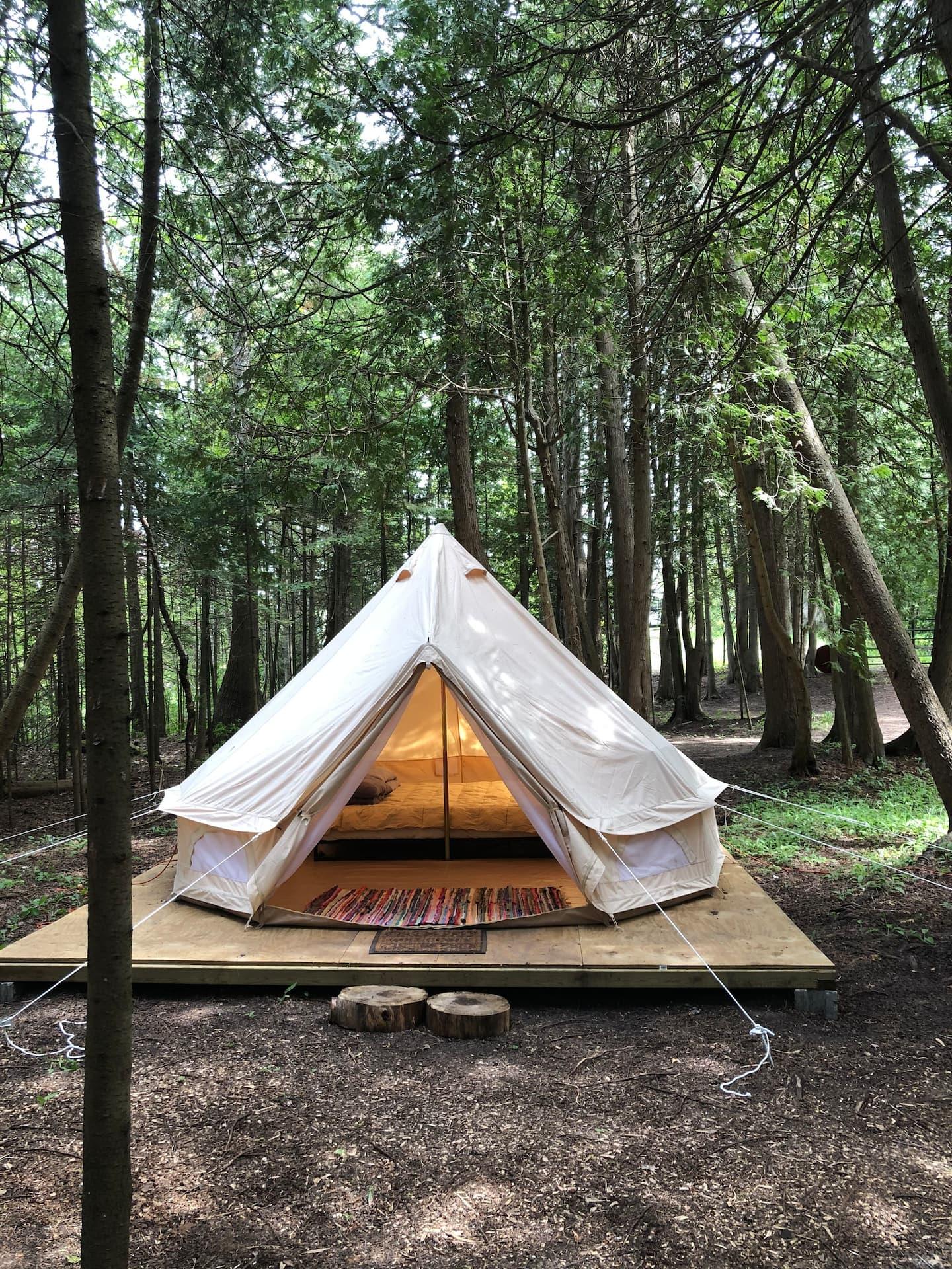 Tiki Hut Yurt Glamping in Michigan