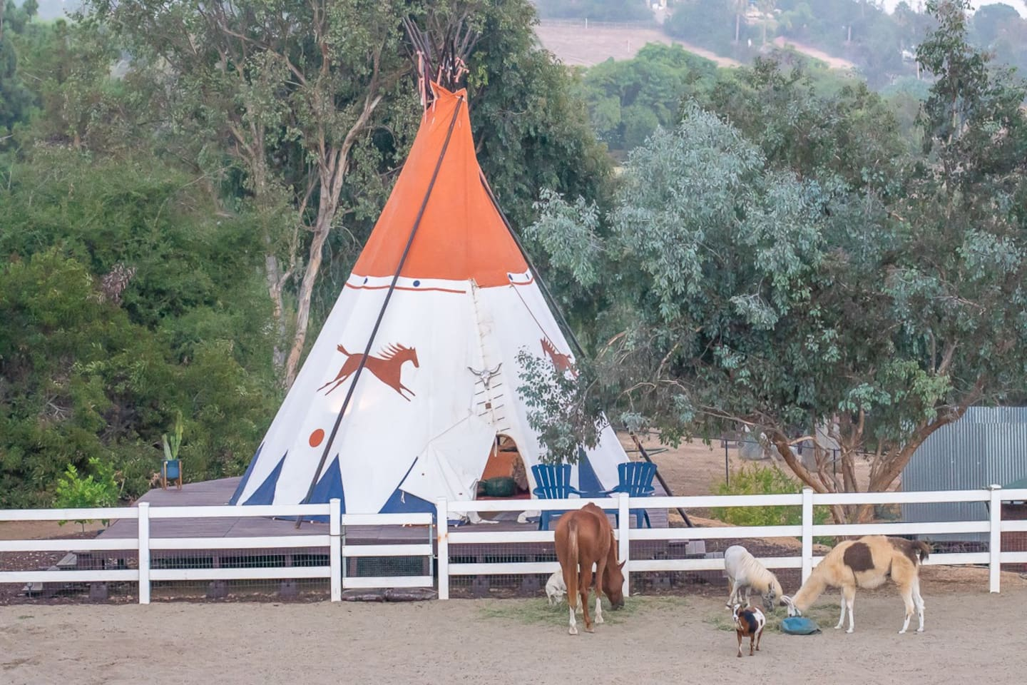 Tipi glamping on a scenic ranch near San Diego