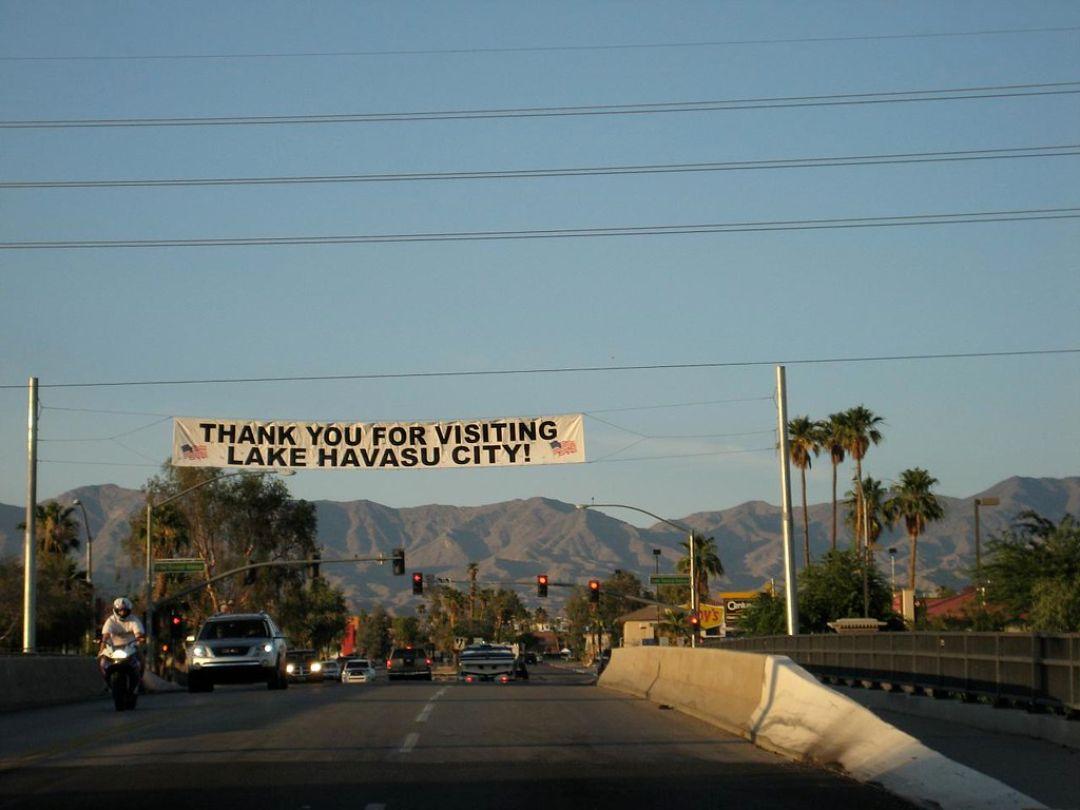 A sign bidding farewell to visitors leaving Havasu