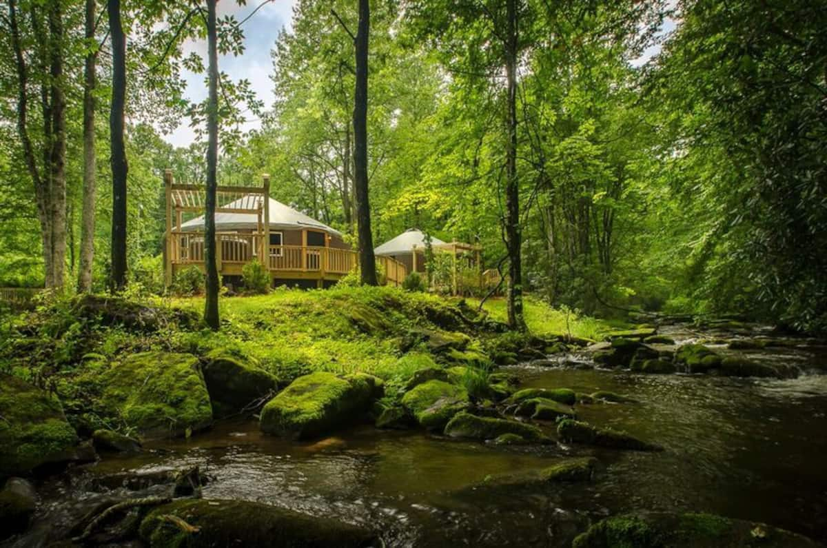 Luxury Yurt Glamping with Hot Tub in North Carolina