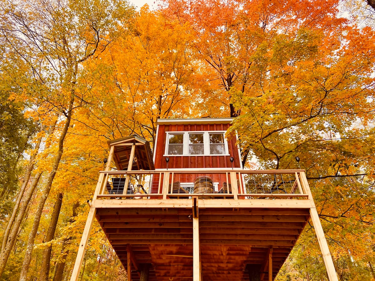 Treehouse Glamping in Fall