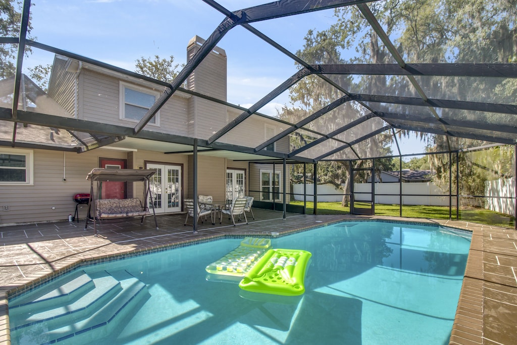tampa florida large home private heated pool backyard view