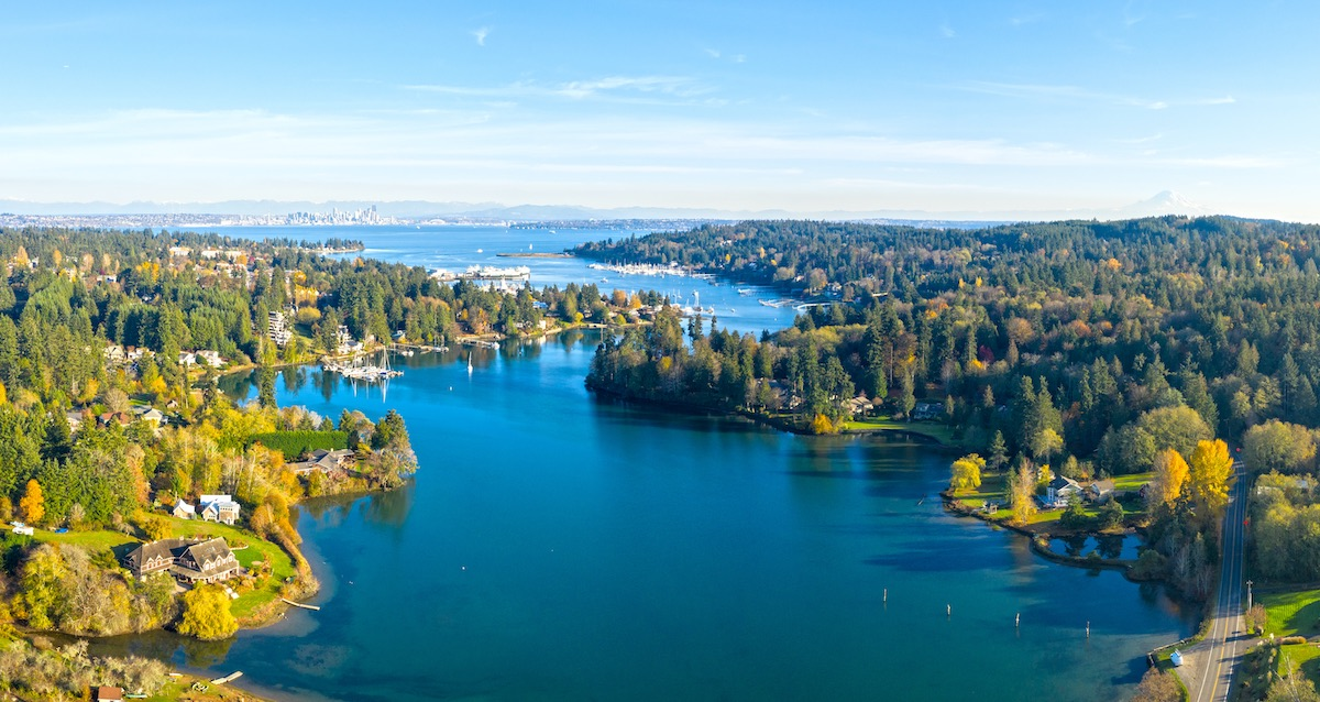 Bainbridge Island Panoramic Aerial Birds Eye View Winslow Seattle Mount Rainier Eagle Harbor