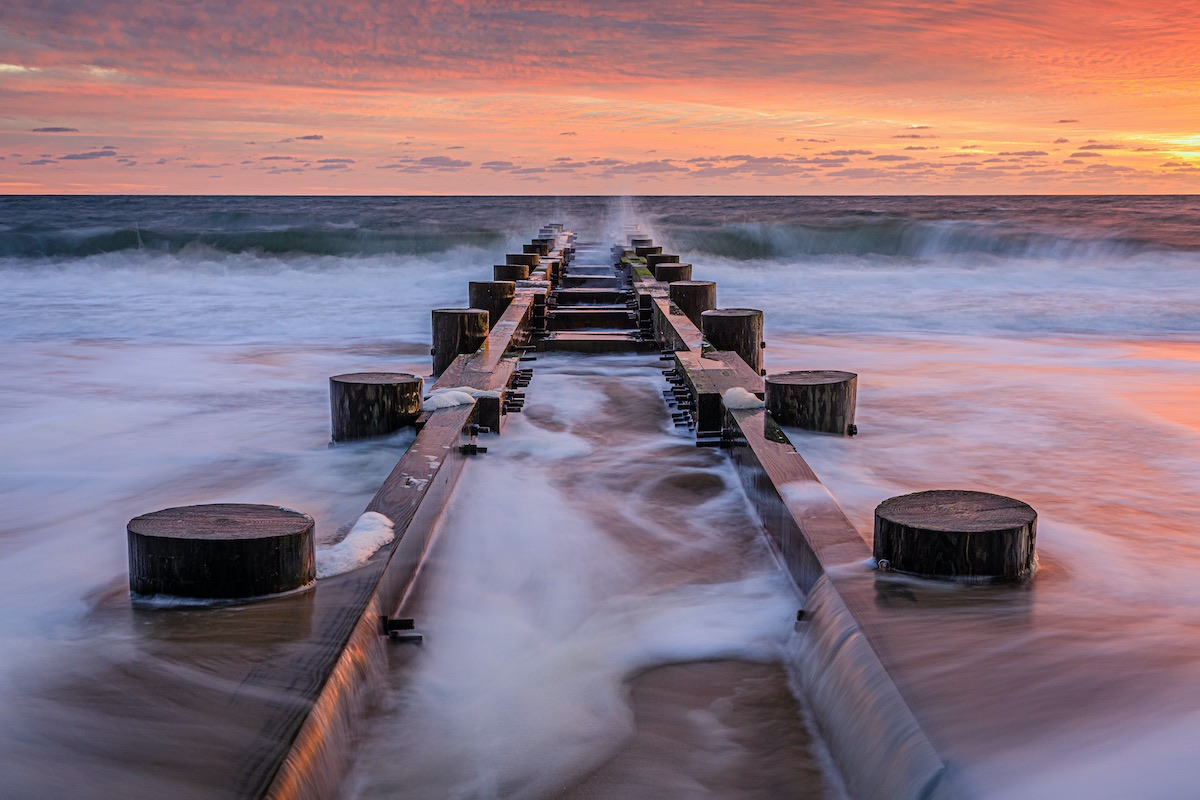 sunrise at rehoboth beach of Delaware state, estern USA