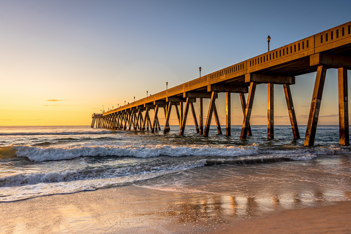 Johnnie Mercers Fishing Pier at sunrise in Wrightsville Beach east of Wilmington, North Carolina, United States
