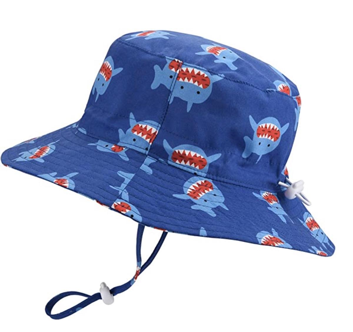 Baby Sun Hat Adjustable - Outdoor Toddler Swim Beach Pool Hat Kids UPF 50+ Wide Brim Chin Strap Summer Play Hat