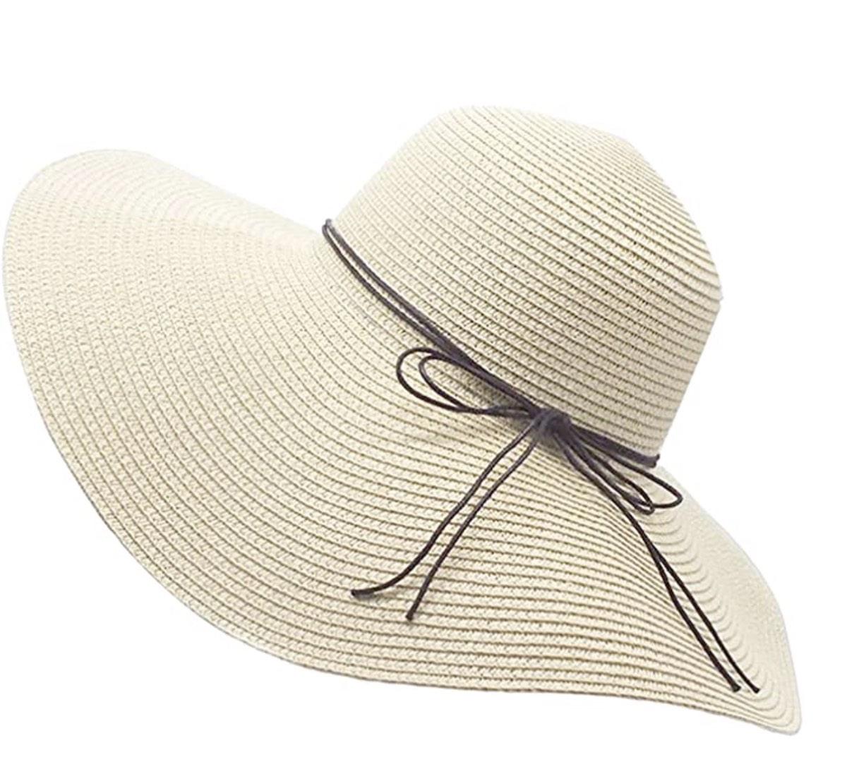 Floppy Straw Hat Wide Brim Foldable Beach Cap Sun Hat for Women