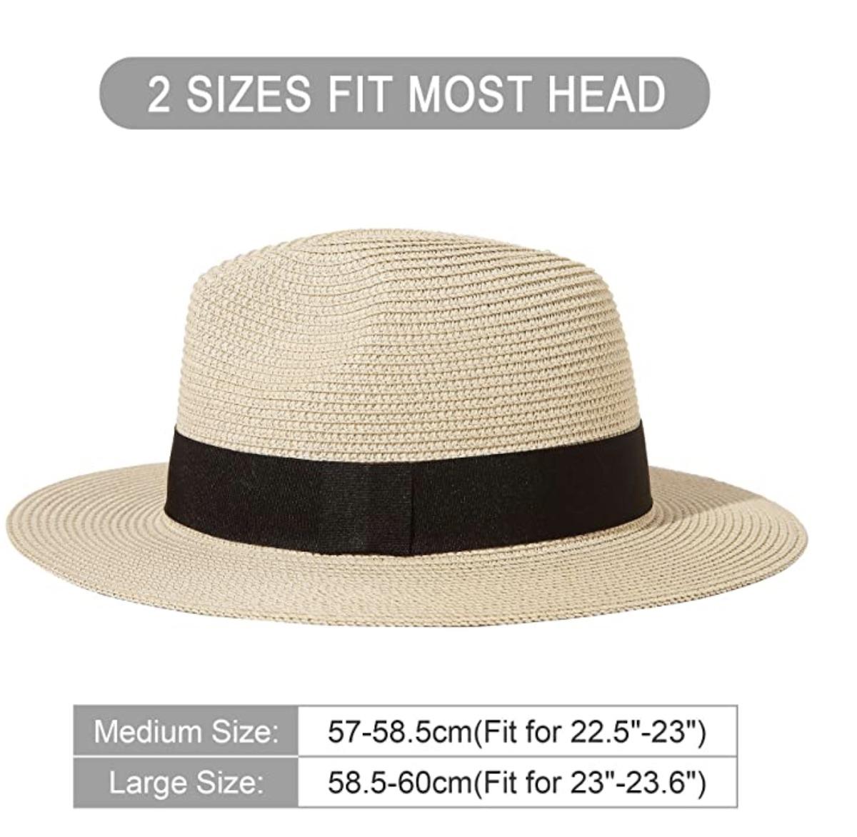 Men Wide Brim Straw Foldable Roll up Hat Fedora Summer Beach Sun Hat