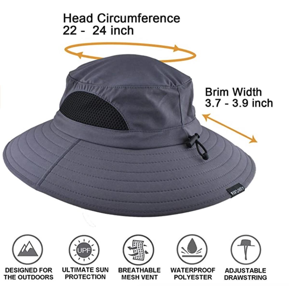 Sun Protection Wide Brim Bucket Hat Waterproof Breathable Packable Beach Hut