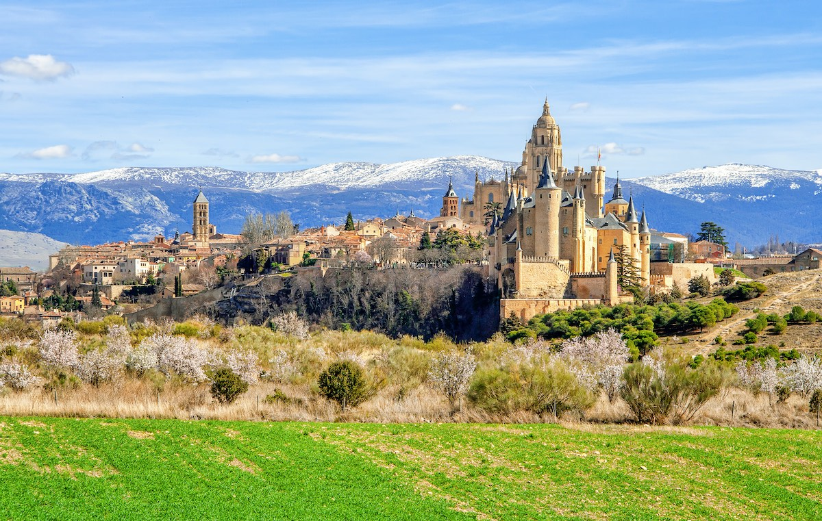Segovia Cathedral and Alcazar located in the main square of the city of Segovia in Spain.