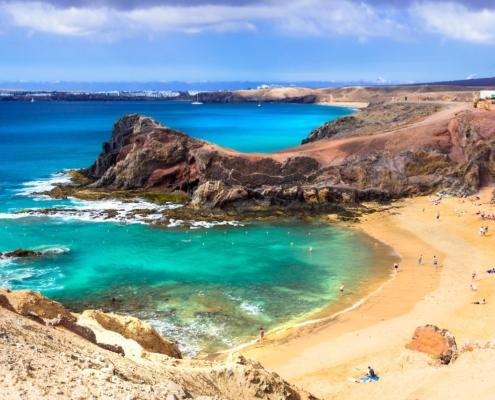 Unique volcanic island Lanzarote - beautiful beach Papagayo, Canary islands