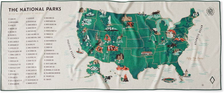 Nomadix National Parks Maps All-Purpose Towel - Single-Sided