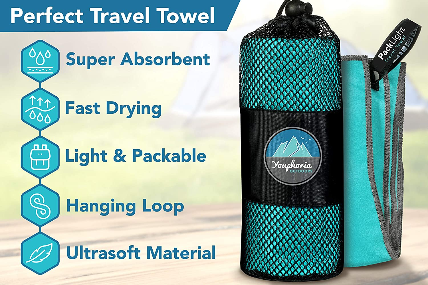 Youphoria Outdoors Microfiber Camping Travel Towel Fast Drying Lightweight