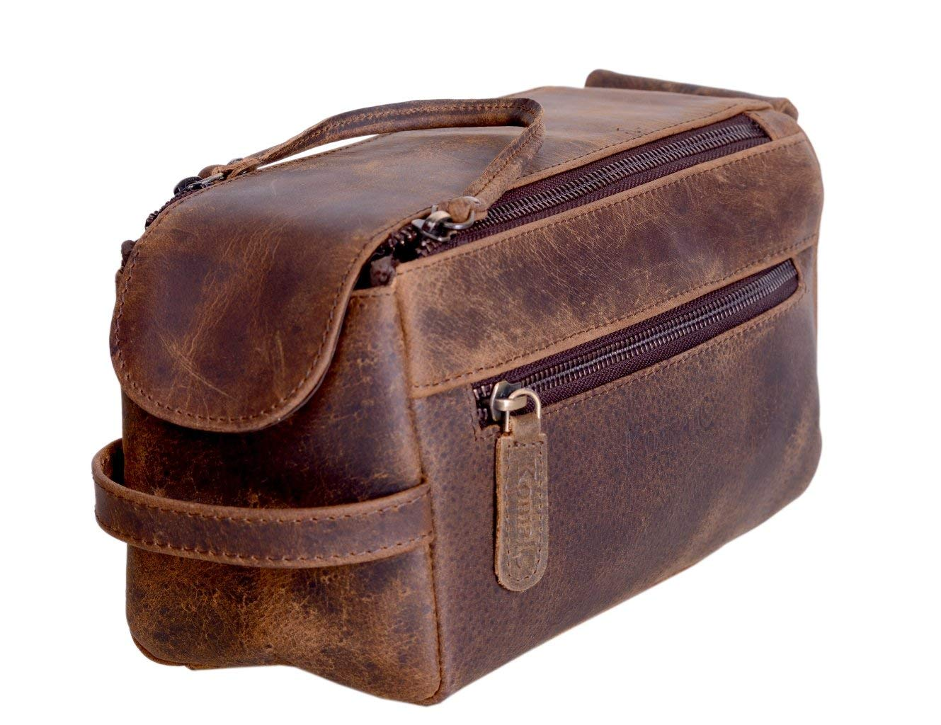 Mens Leather Travel Toiletry Case