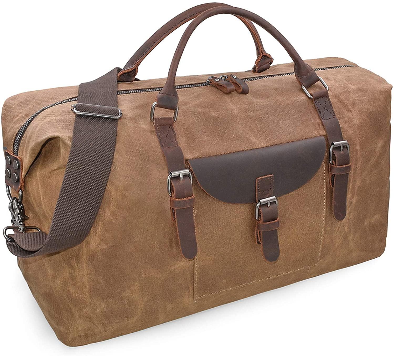 Travel Duffel Bag Waterproof Canvas Genuine Leather Weekend