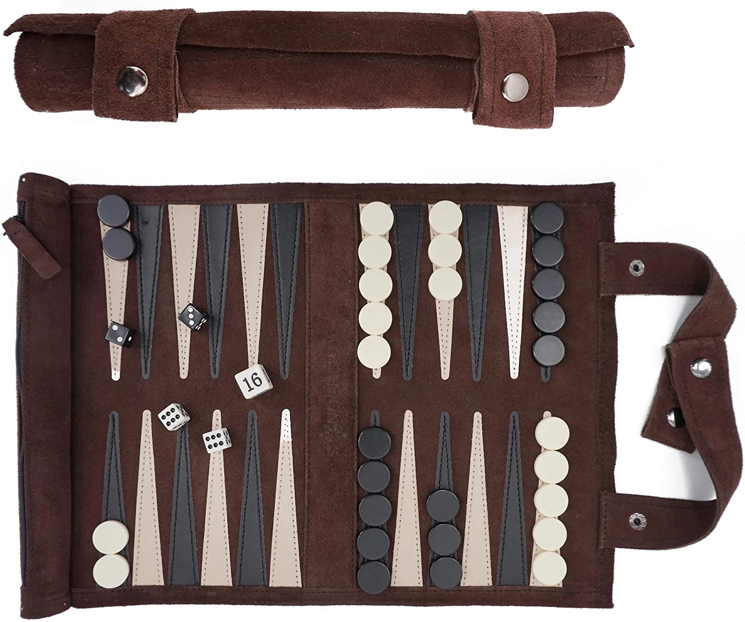 Backgammon Suede Roll-Up Game