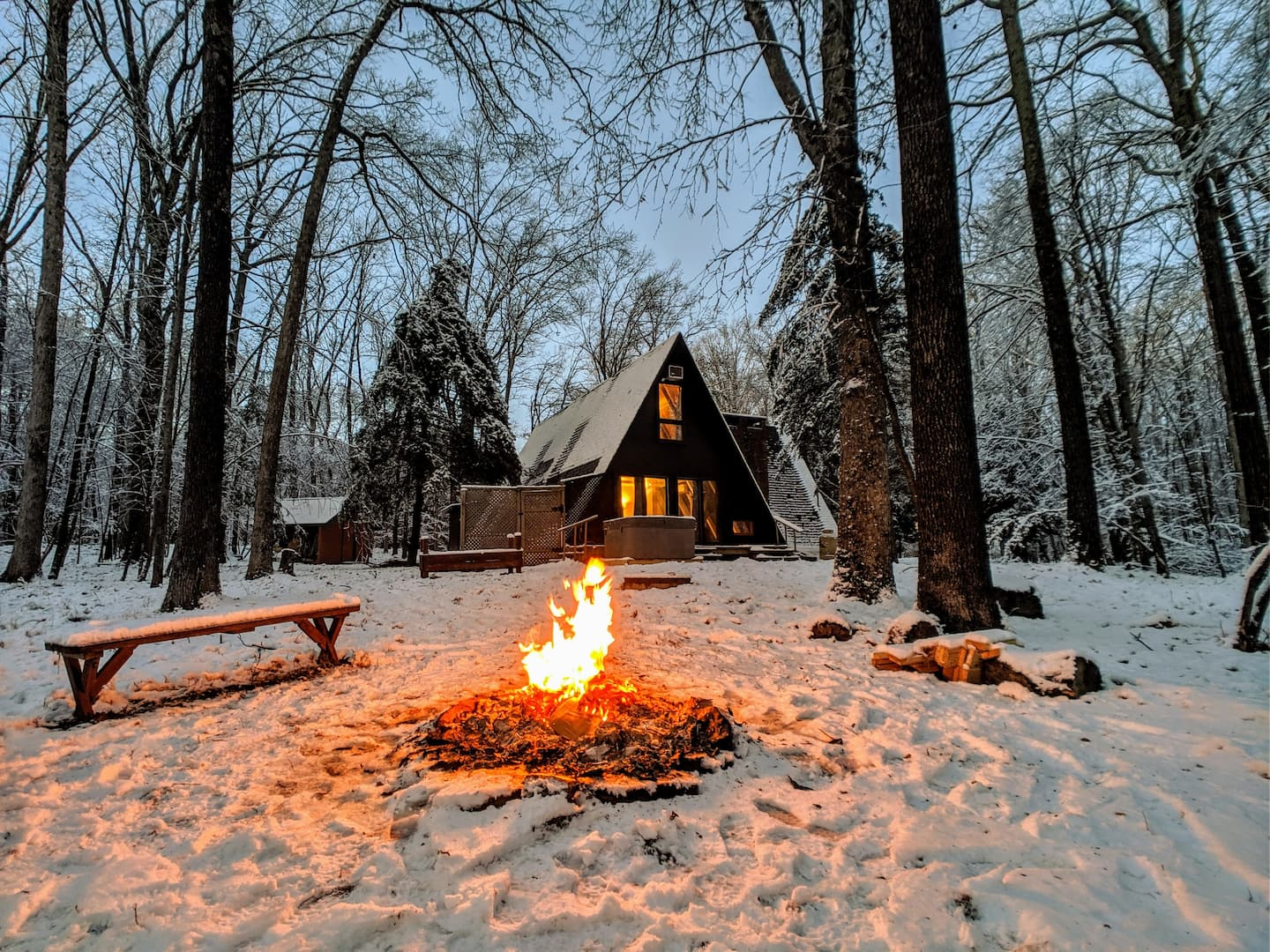 Luxury Cabins in Poconos A frame with hot tub close to camelback skiing
