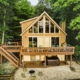 Luxury Cabins in Poconos lakefront with hot tub kayak fire pit and pool