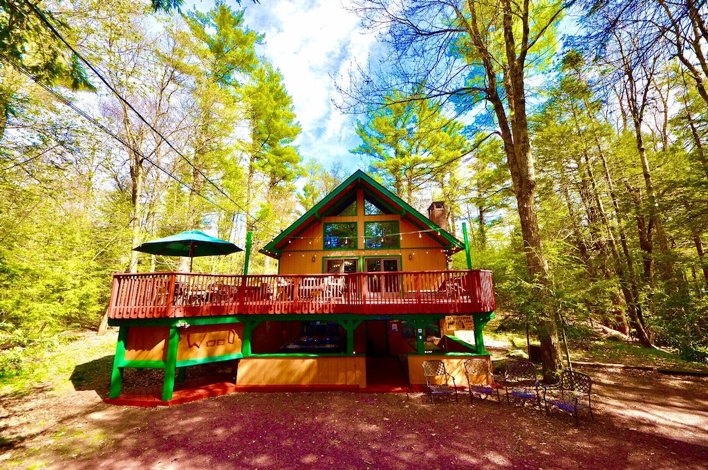 Luxury Cabins in Poconos with hot tub large deck and pool access