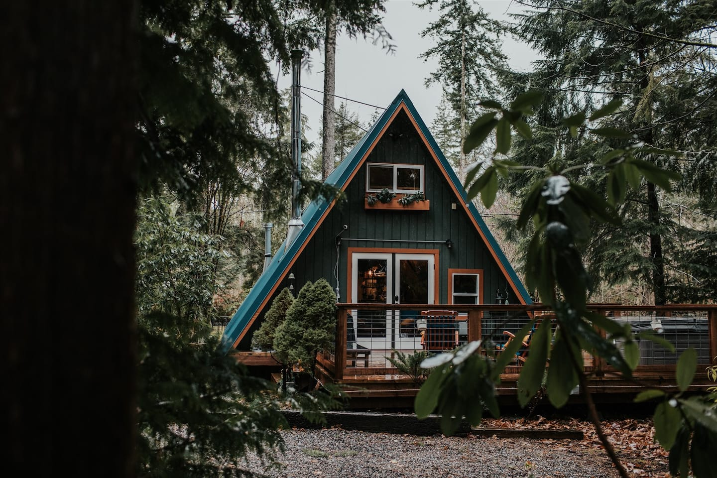Secluded Cabins in Washington State a-frame with hot tub