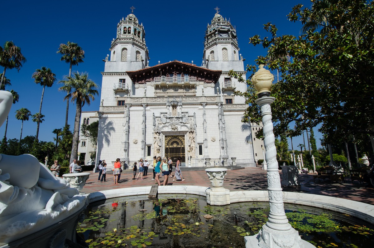 San Simeon, California - August 7, 2018: Hearst Castle, exterior view with many people and tourists around