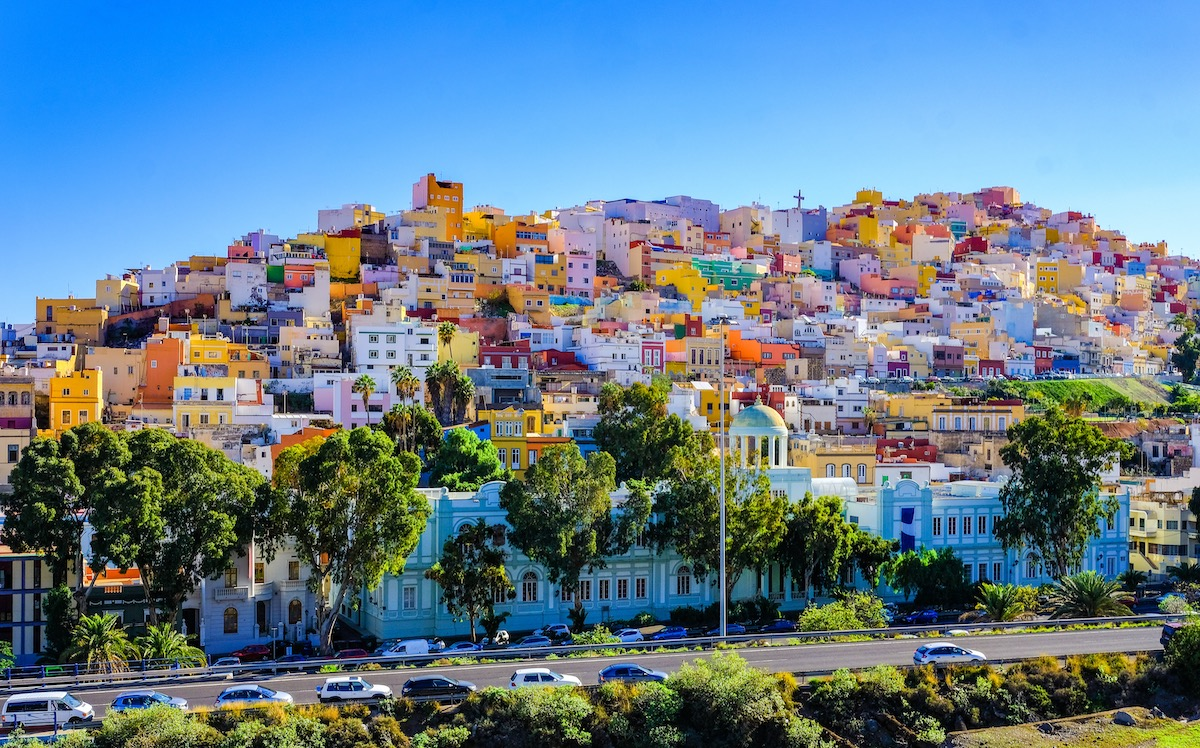 Gran Canaria many colorful houses in Ciudad alta, Las Palmas. Sunny view of the picturesque old town