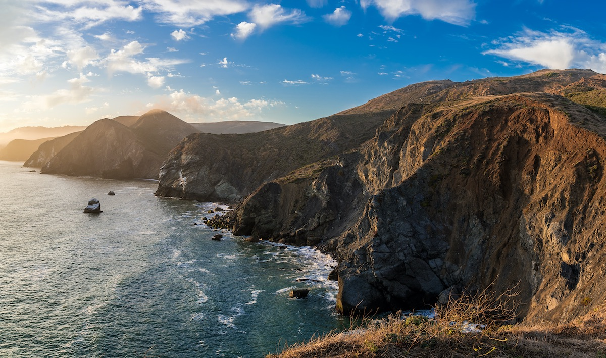 California's jagged coastline as seen from the Marin Headlands near San Francisco.
