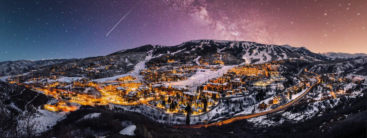 Snowmass Colorado skyline with ski slopes