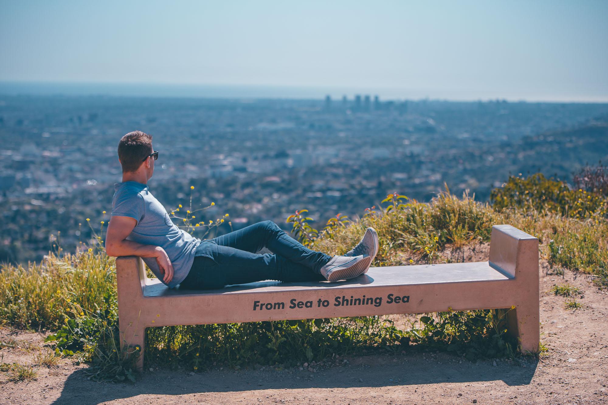 Man sitting on bench in Runyon Canyon